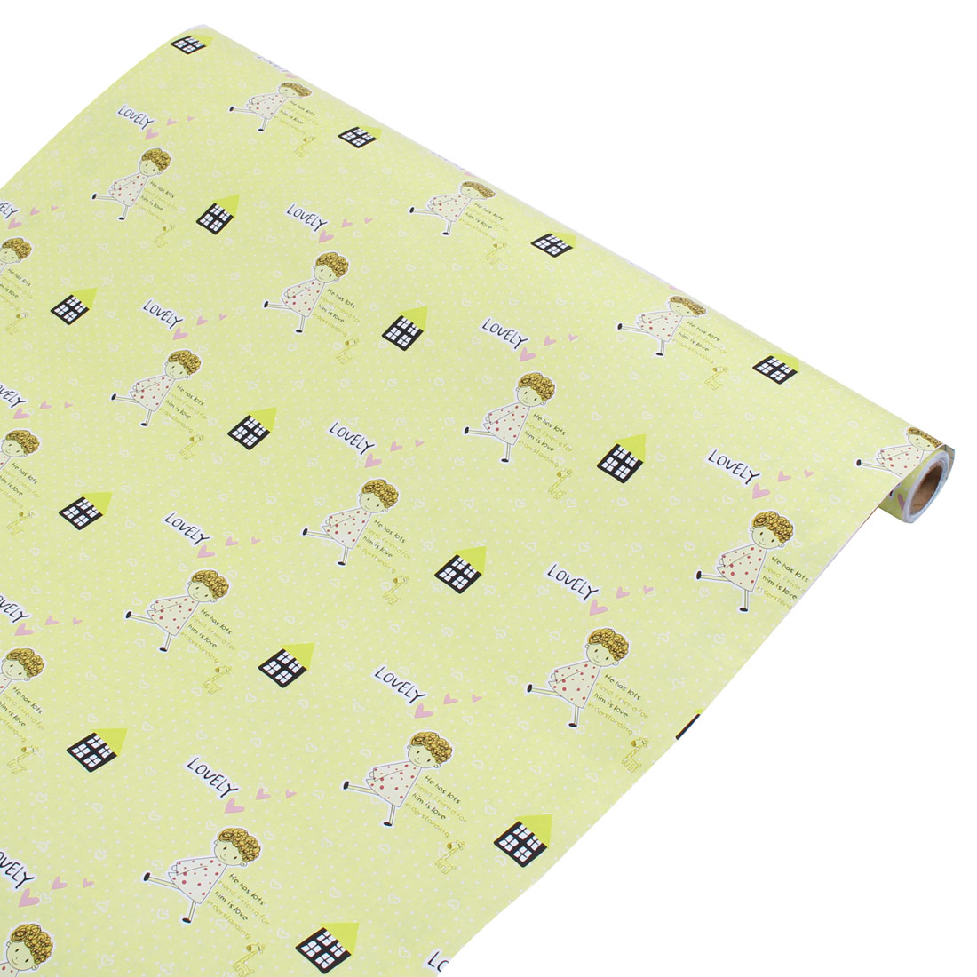 Cartoon Boy Pattern Bedroom Decor Wallpaper Roll Yellow 10Ft Length