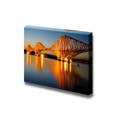 Wall26 - Canvas Prints Wall Art - The Forth Rail Bridge Illuminated at Dawn | Modern Wall Decor/ Home Decoration Stretched Gallery Canvas Wrap Giclee Print. Ready to Hang - 24