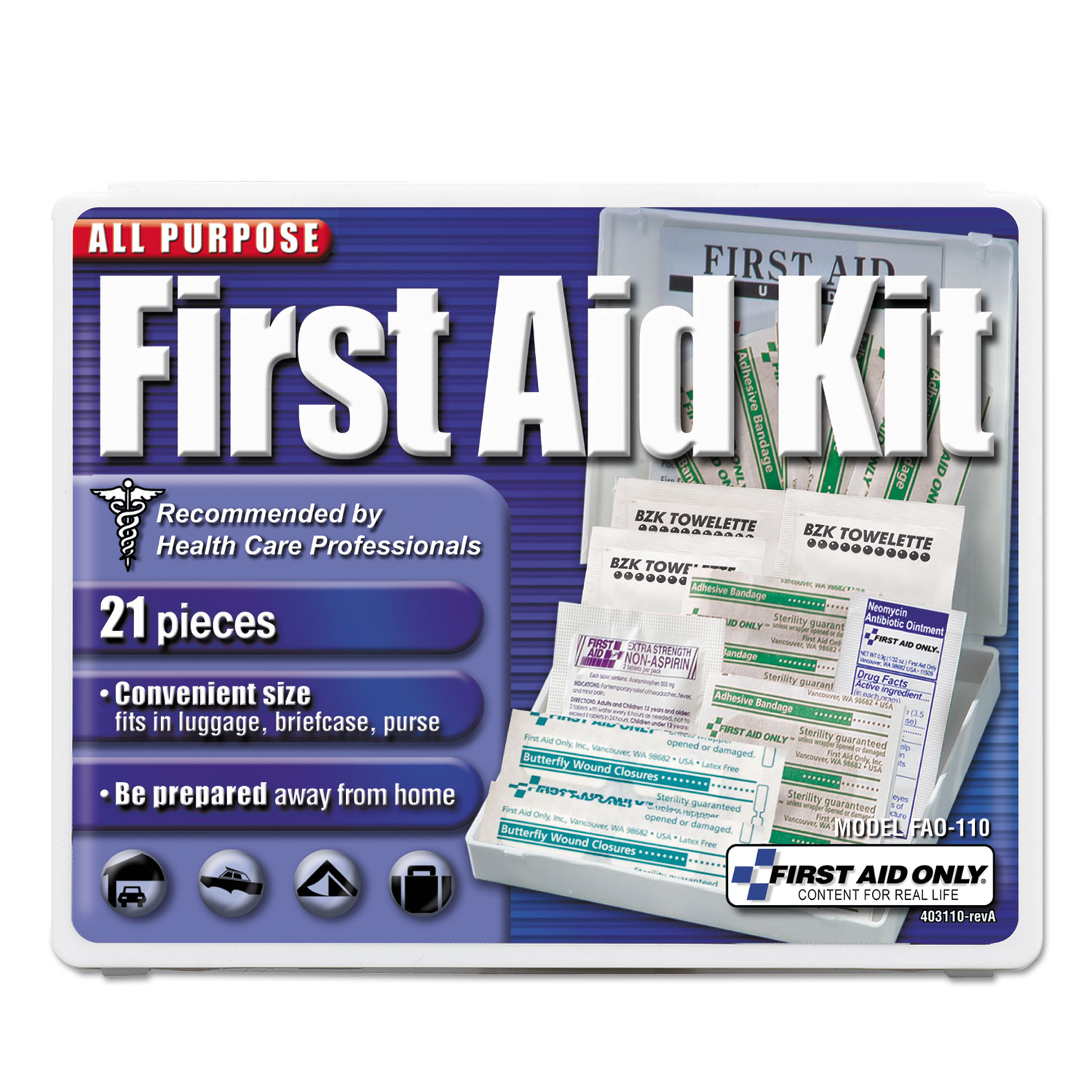 Click here to buy All-Purpose First Aid Kit, 21 Pieces, 4 3 4 x 3 x 1 2, Blue White by First Aid Only.