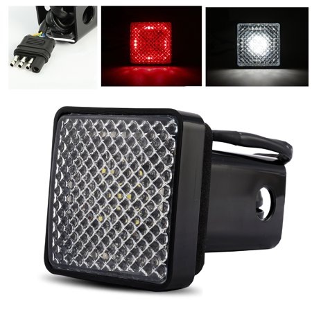 "ModifyStreet Red/White LED Hitch Cover Light with Running / Brake / Reverse Functions for Truck Towing Trailer or SUV Class III 2"" Receiver"
