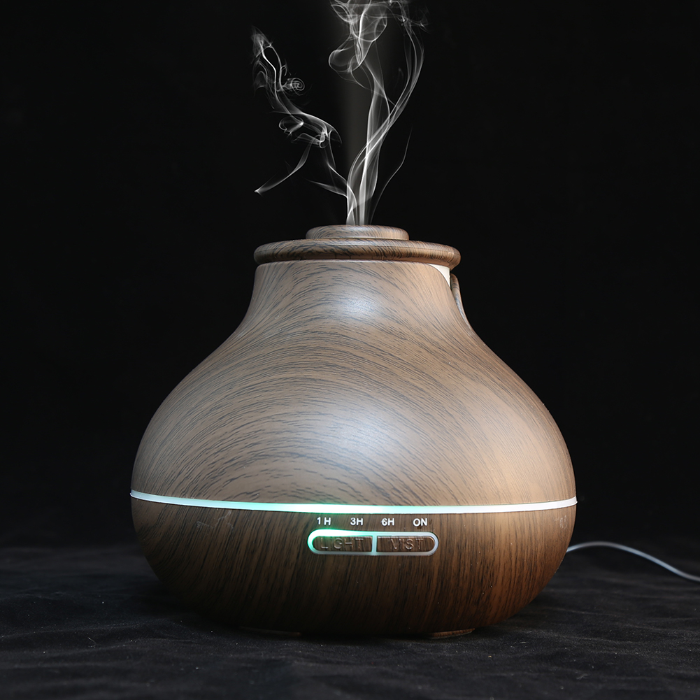 Wooden Ultrasonic Aroma Diffuser, Estink 400mL Mist Essential Oil Humidifier Air Aromatherapy Aroma Diffuser with Color LED Light and 4 Timer Settings(Dark Wood)