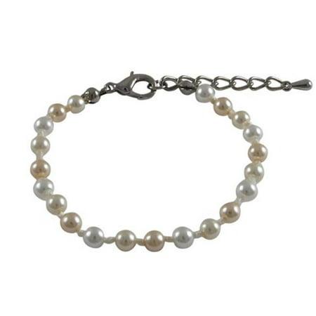 4 mm Glass Pearls Bracelet, Multi Colors - 5 in.