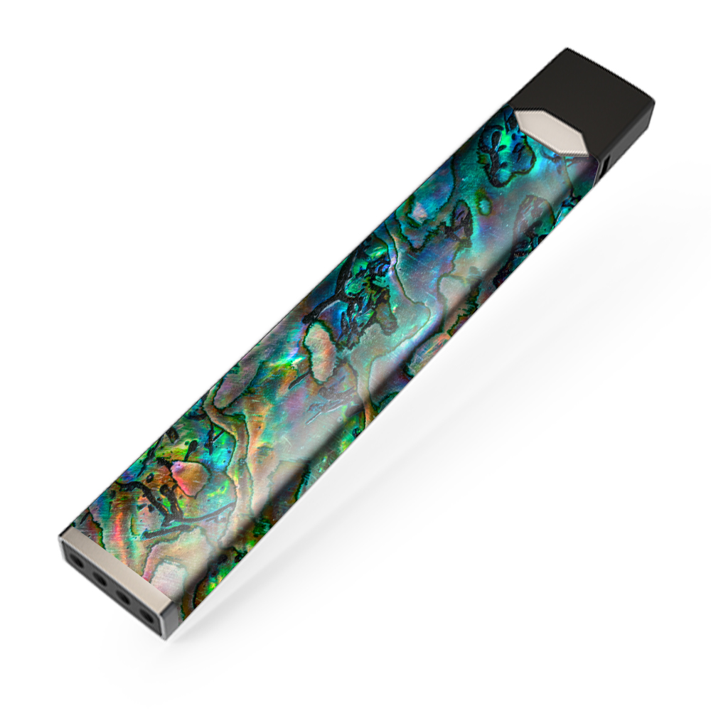 Skin Decal Vinyl Wrap for JUUL Vape stickers skins cover / Abalone Shell Swirl Neon Green Opalescent