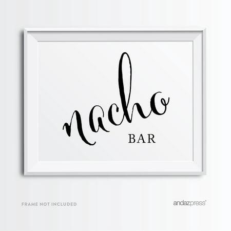 Nacho Bar Formal Black & White Wedding Party Signs - Nacho Bar Toppings