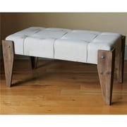 International Caravan 47B-12A12-NT Rustic Elegance Rectangular Tuffed Fabric Bench, Natural Fabric
