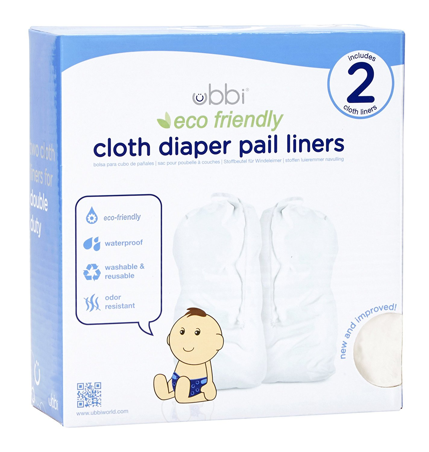 Ubbi Cloth Diaper Pail Liner, Two Count, White