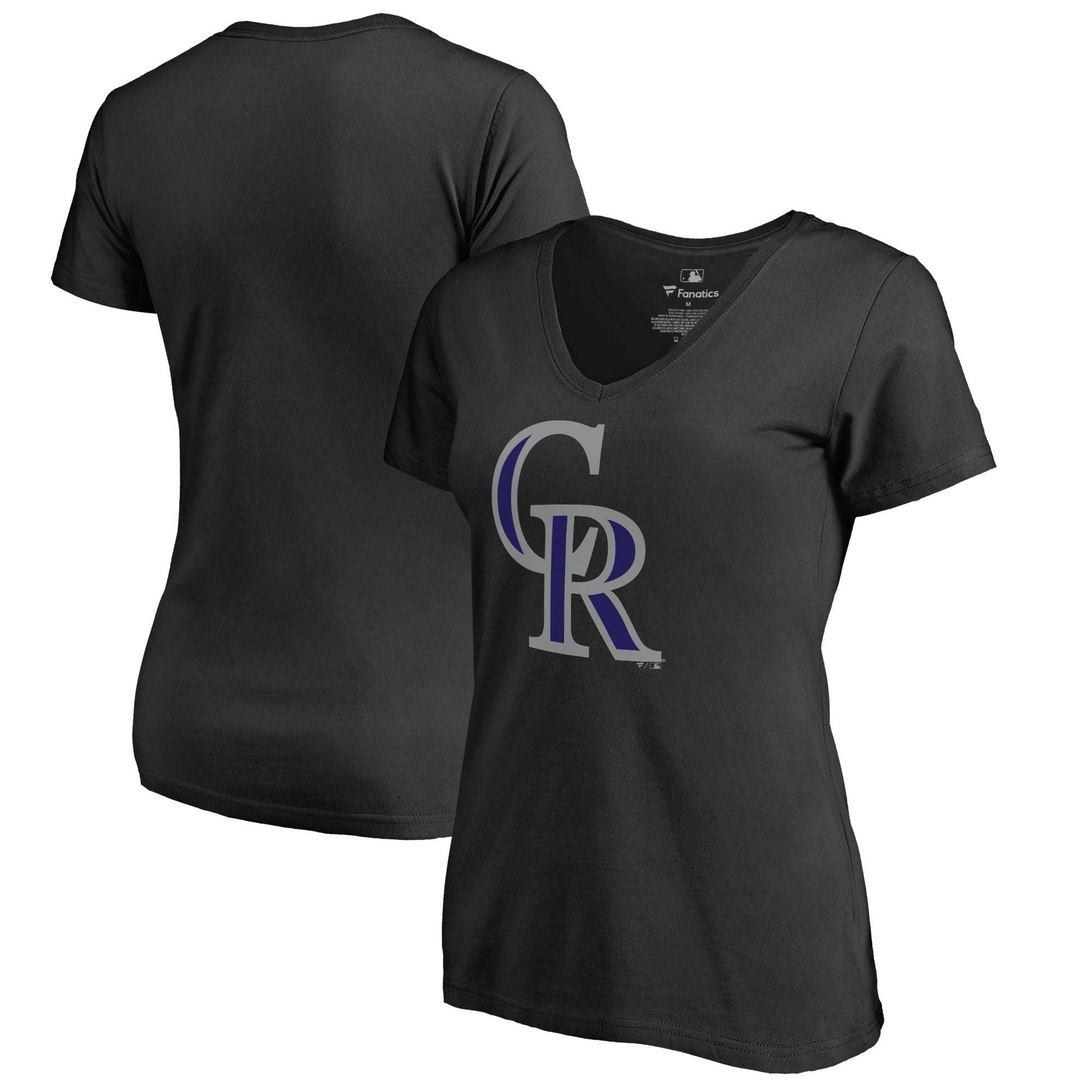 Colorado Rockies Women's Plus Sizes Primary Team Logo T-Shirt - Black