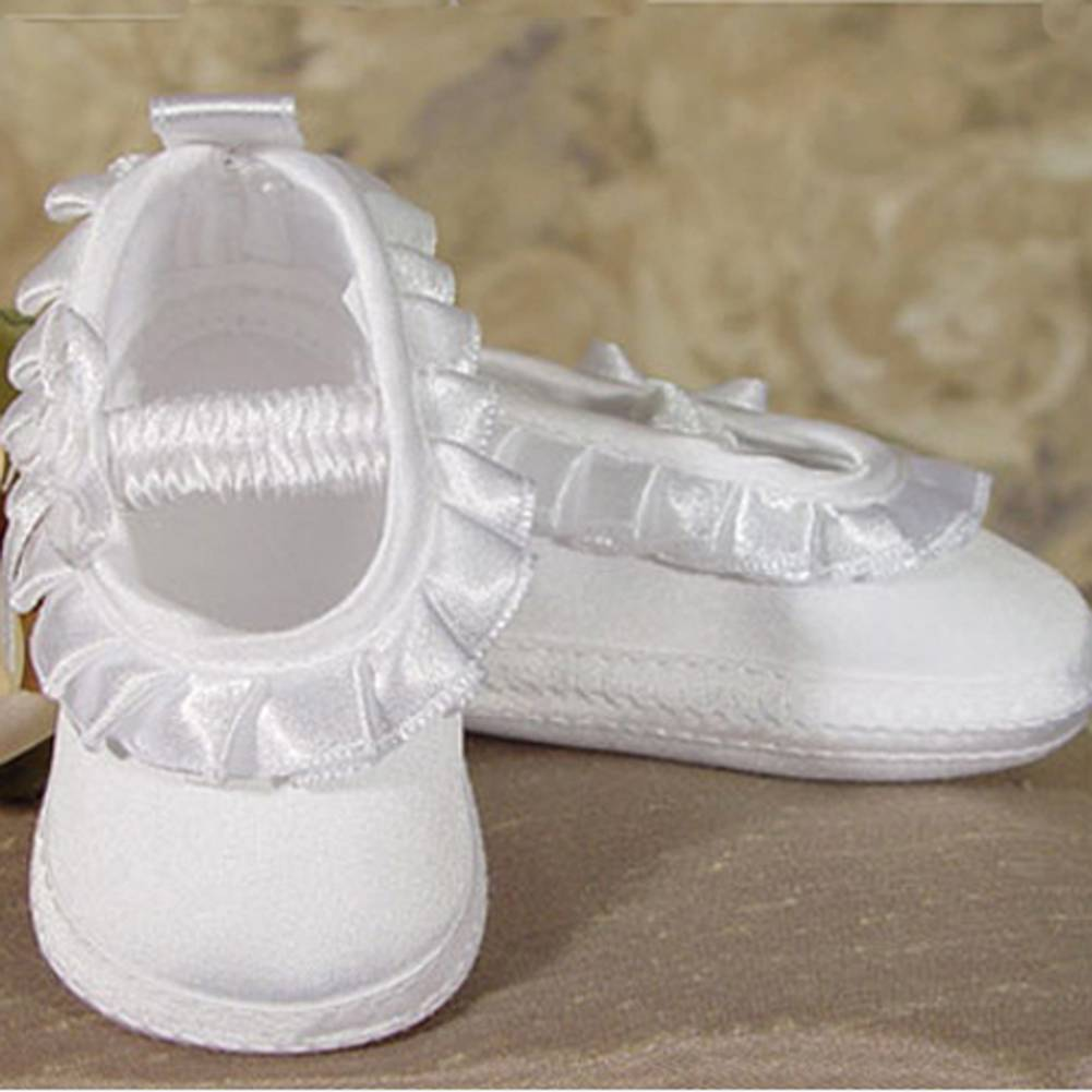 Baby Girls White Matte Satin Pleated Ribbon Christening Shoes 0-3