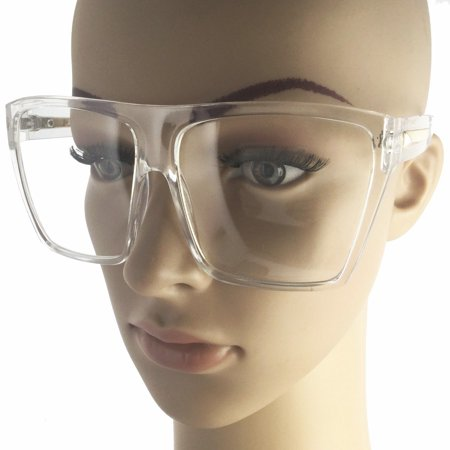 Clear Square Flat Top Aviator Large Big Oversized Frame Women Lauren (Large Square Frame Sunglasses)
