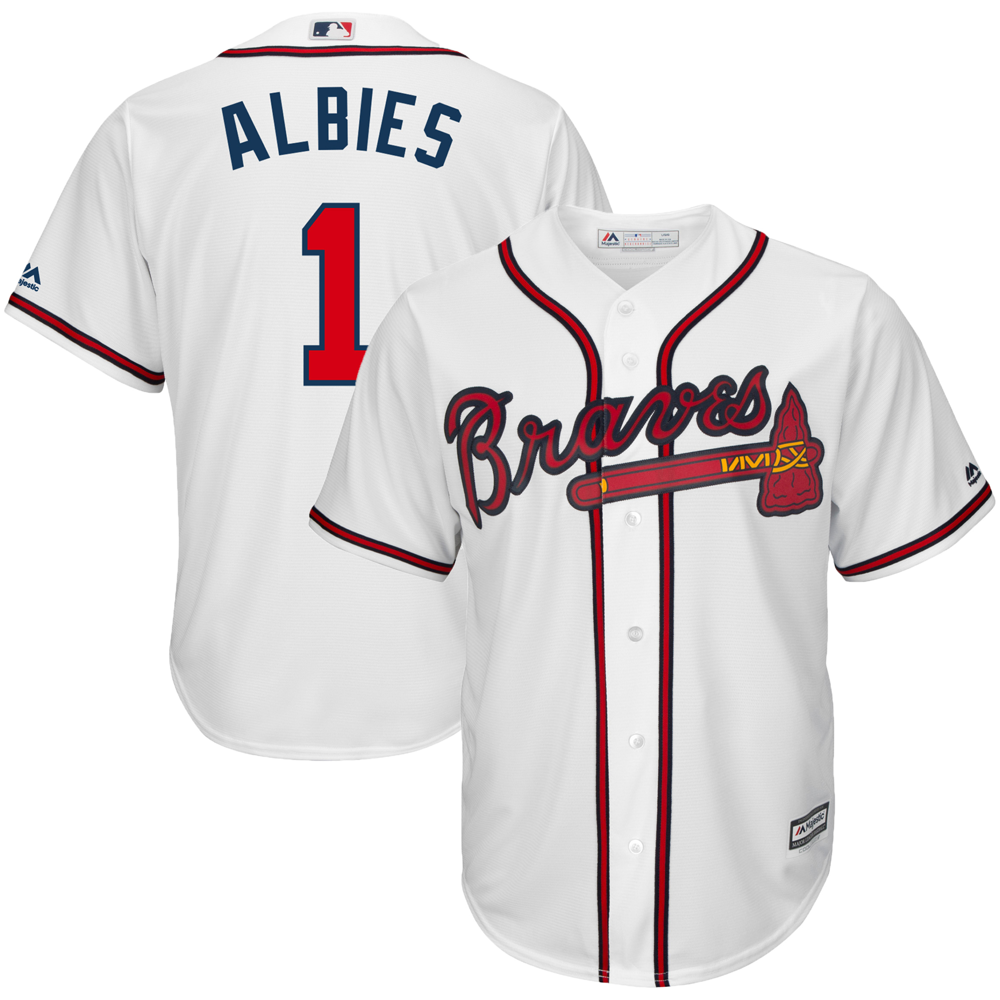 Ozzie Albies Atlanta Braves Majestic Home Cool Base Player Jersey - White
