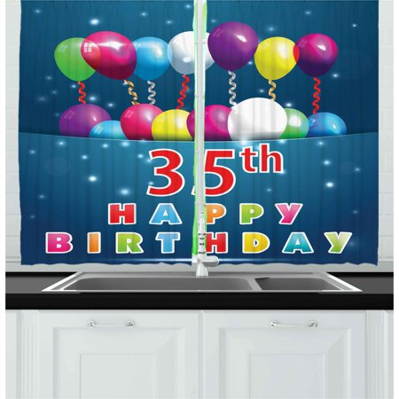 35th Birthday Curtains 2 Panels Set, Surprise Party for Thirty Five Years Old with Flying Balloons and Ribbons, Window Drapes for Living Room Bedroom, 55W X 39L Inches, Multicolor, by - Halloween Birthday Party Ideas 2 Year Old
