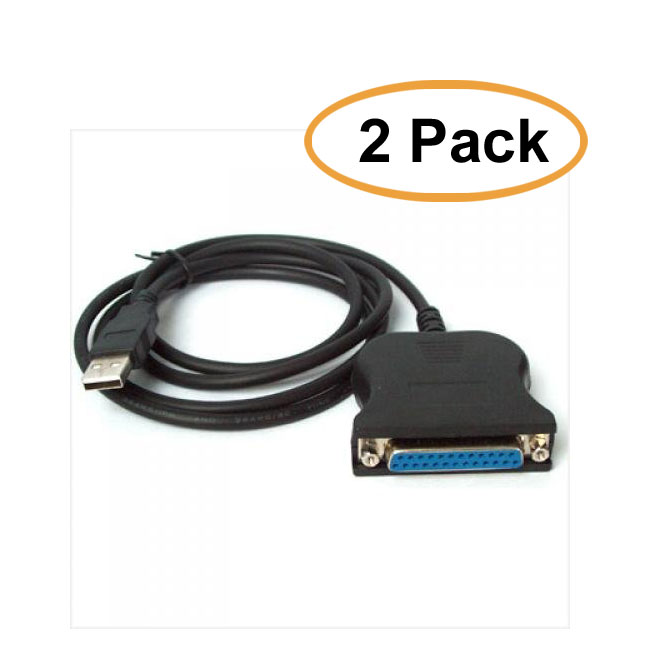 C&E 6 Feet USB Male to DB25 Female Printer Adapter Cable, Black 2 Pack