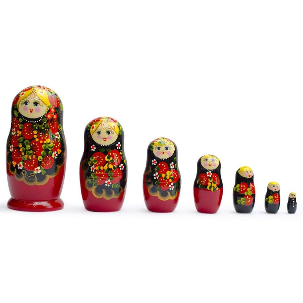 "9"" Set of 7 Large Strawberries Russian Nesting Dolls"