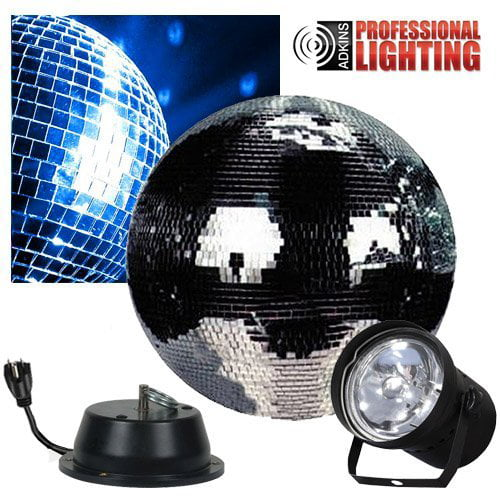 "Disco Ball 12"" Disco Mirror Ball Complete Party Kit with Pinspot and Motor by Adkins Pro Audio & Lighting"