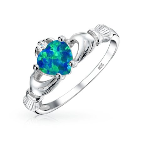 BFF Celtic Irish Friendship Couples Promise Blue Created Opal Claddagh Ring For Teen For Women October Birthstone