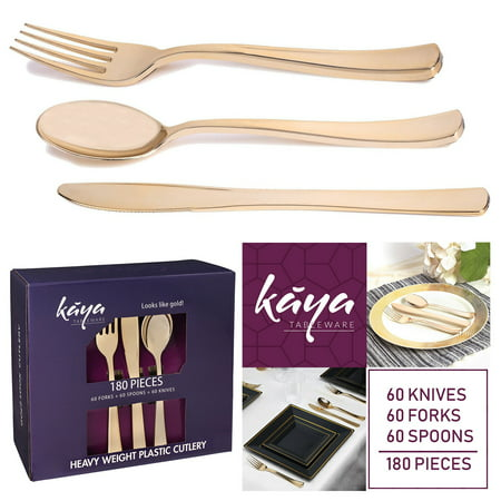 Kaya Collection - Plastic Silverware Set - Gold Cutlery - Disposable Flatware, 60 Forks, 60 Knives and 60 Spoons (180 Pieces) - Plastic Forks Bulk