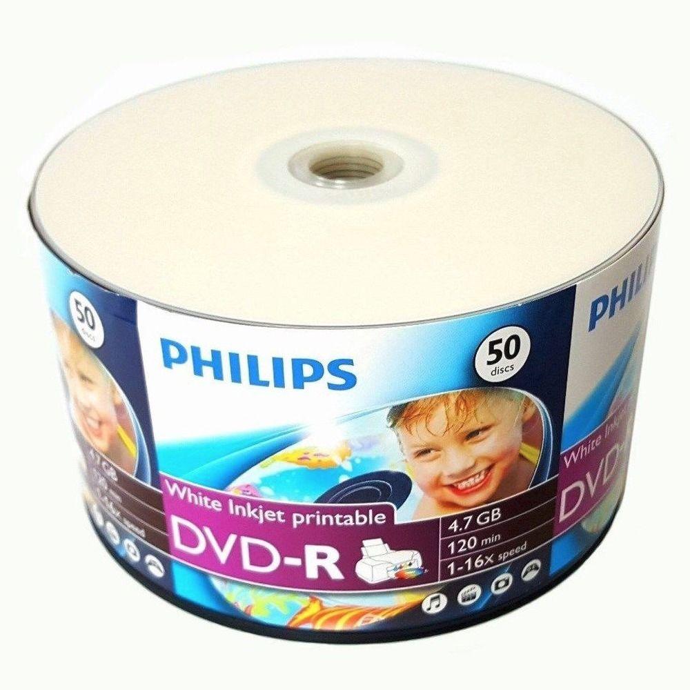50 Pack Philips DVD-R DVDR White Inkjet Hub Printable 16X 4.7GB 120min Blank Media Disc