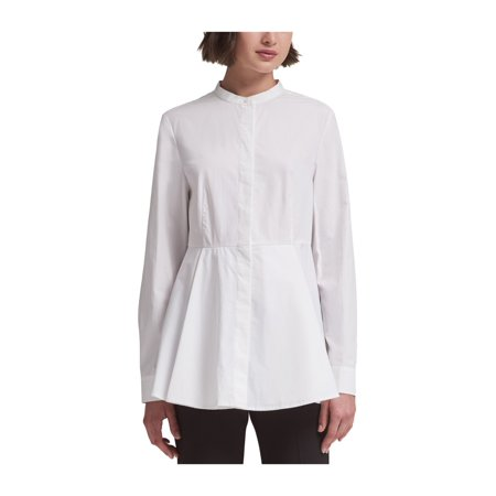 DKNY Womens Solid Peplum Blouse wht S - image 1 of 1