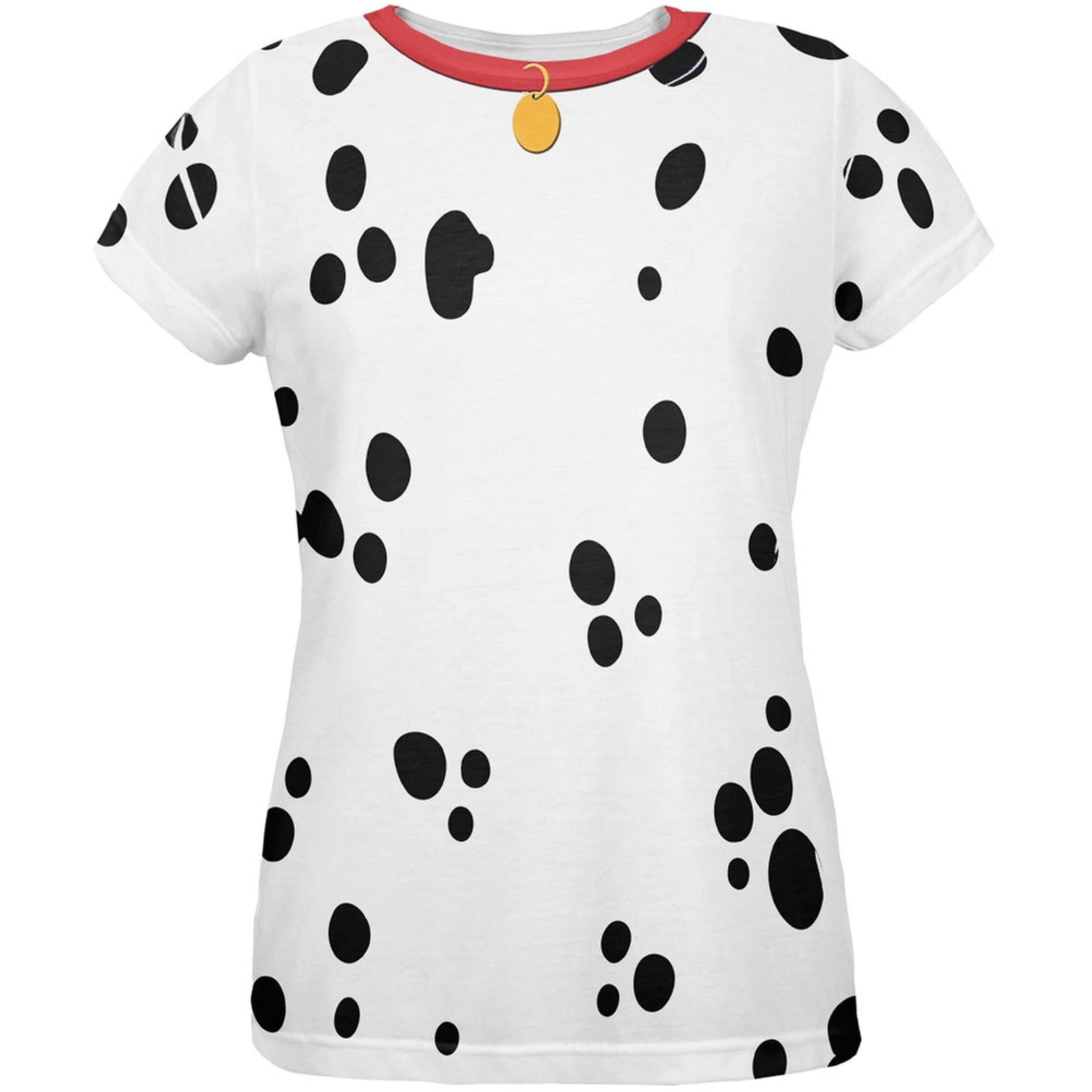 Animal World Dog Dalmatian Costume Red Collar All Over Womens T