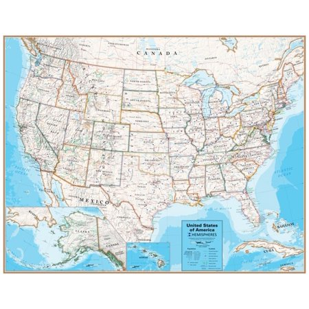 Hemispheres Contemporary Series USA Wall Map, paper edition Poster - 48x38 ()