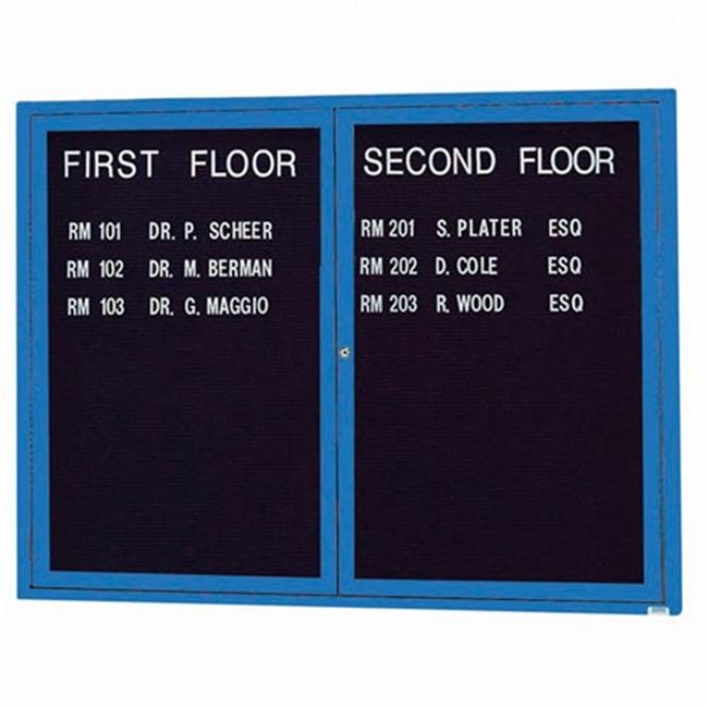 Aarco Products OADC3648B 36 inch H x 48 inch W 2-Door Outdoor Enclosed Directory Board - Blue
