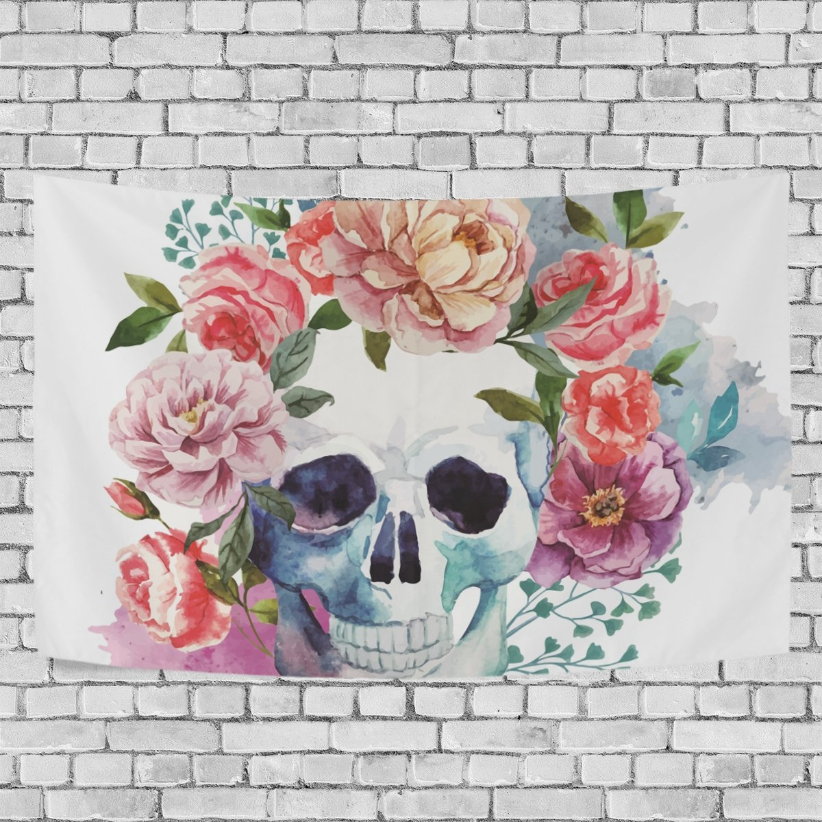 MYPOP Skull Flower Tapestry Wall Decor Living Room Dorm Tapestries DIY 80 x 60 inches