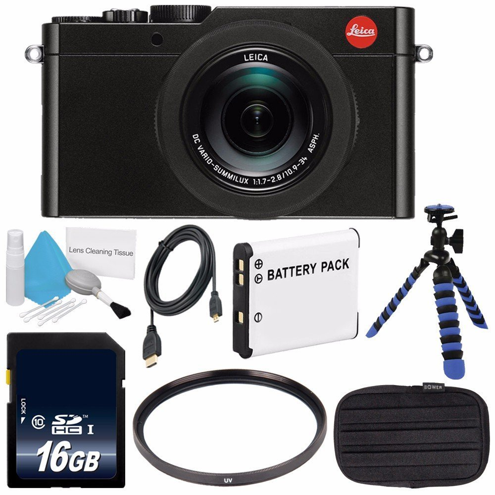 Leica D-LUX (Typ 109) Digital Camera (Black) (International Model no Warranty) + DMW-BLE9 Replacement Lithium Ion Battery + Flexible Tripod with Gripping Rubber Legs + Mini HDMI Cable Bundle 7