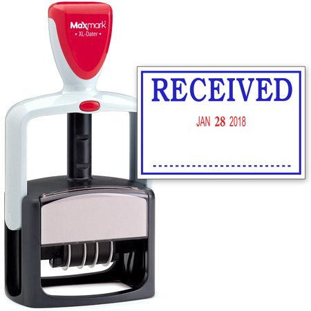 - 2000 PLUS Heavy Duty Style 2-Color Date Stamp with RECEIVED self inking stamp - Blue/Red Ink