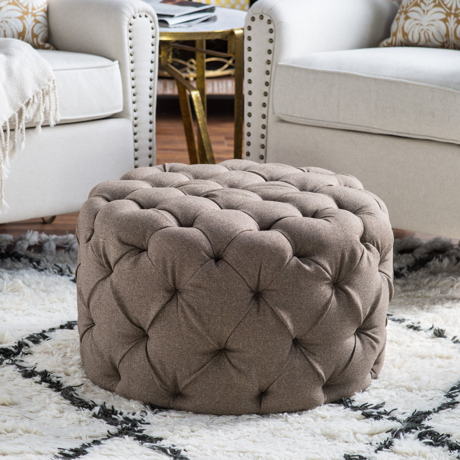 Belham Living Allover Tufted Round Ottoman - Brown