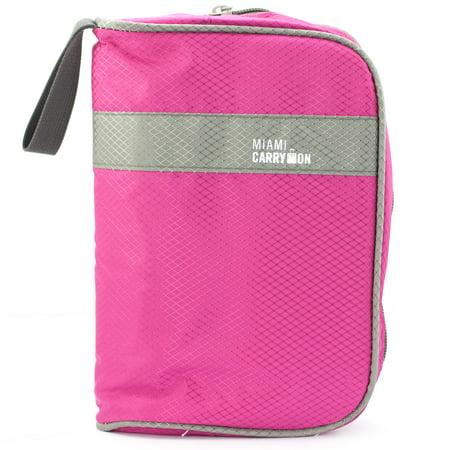 Miami CarryOn Travel Cosmetics Toiletry Handbag - Makeup Travel Organizer (Hot Pink)