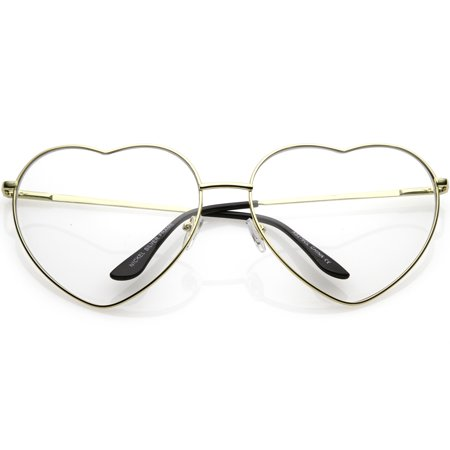 Oversize Metal Heart Shaped Eye Glasses With Clear Lens 71mm (Gold / Clear) - Oversized Glasses