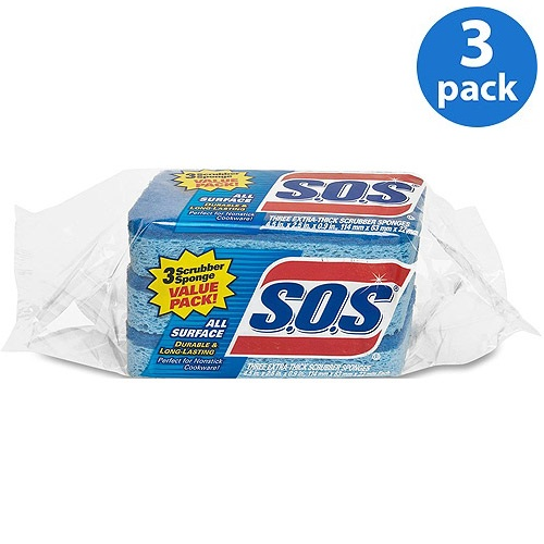 S.O.S All Surface Extra-Thick Scrubber Sponges, 3 count, Pack of 3
