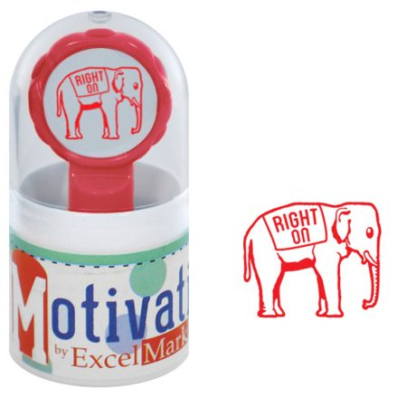 - Motivations Pre-inked Teacher Stamp - Right On (Elephant) - Red Ink
