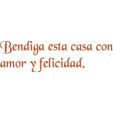 """wall quotes - 'bendiga esta casa con amor y..' 6""""x20"""" - vinyl"""