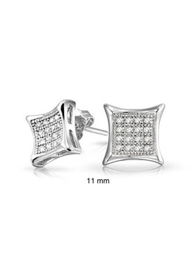 5b0bde7d1 Product Image Mens Womens Square Shaped Cubic Zirconia Micro Pave CZ Kite Stud  Earrings 925 Sterling Silver 11MM