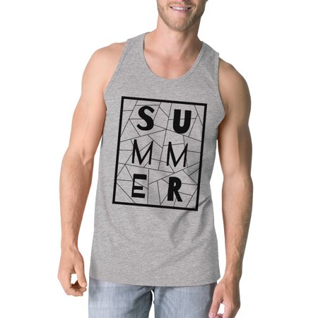 Geometric Sleeveless (Summer Geometric Mens Grey Sleeveless Tee Trendy Lettering Tanks )