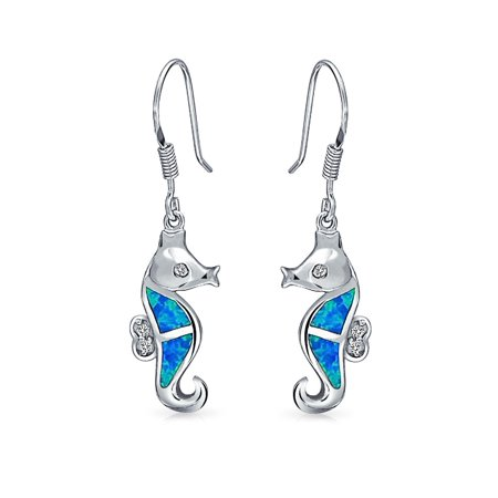 Nautical Blue Created Opal Tropical Beach Dangle Seahorse Earrings for Women Fish Wire 925 Sterling Silver