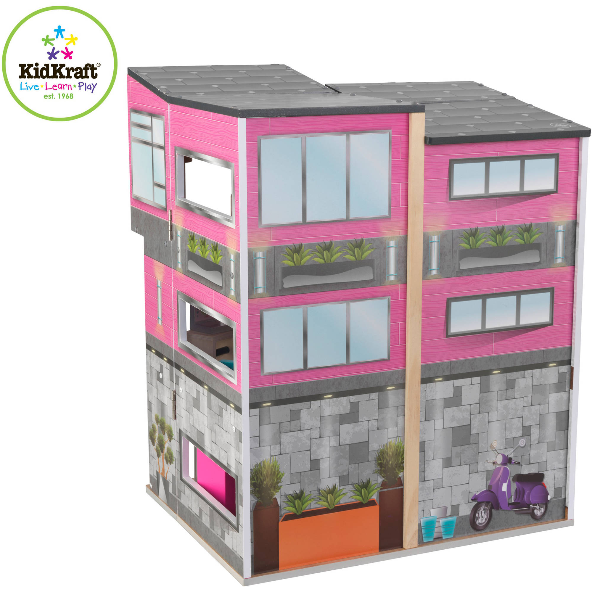 KidKraft Contemporary Deluxe Wooden Townhouse With 24 Pieces Of Furniture    Walmart.com