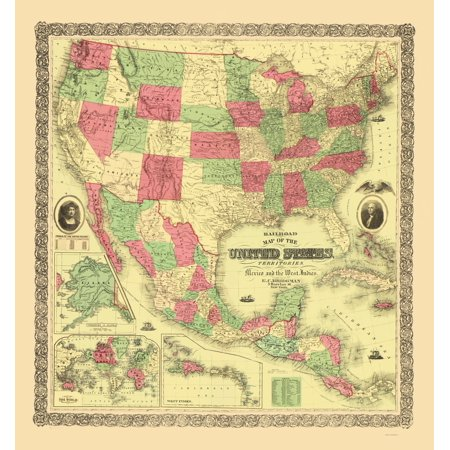 Old Railroad Map   United States  Territories  Mexico  Caribbean Railroads   Bridgman 1872   23 X 24 69