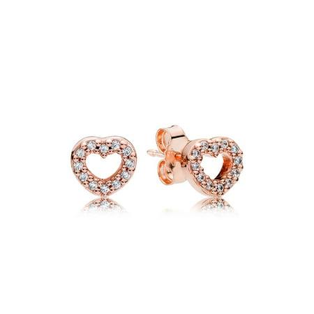Pandora Stud Earrings Captured Hearts w/Clear CZ Earring 280528CZ