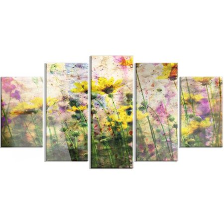 Design Painted Metal (Design Art 'Coreopsis Flowers and Paint Splashes' 5 Piece Graphic Art on Metal Set)