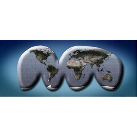 Map of world from Goodes homolosine projection Poster Print by  - 36 x 12 - image 1 de 1
