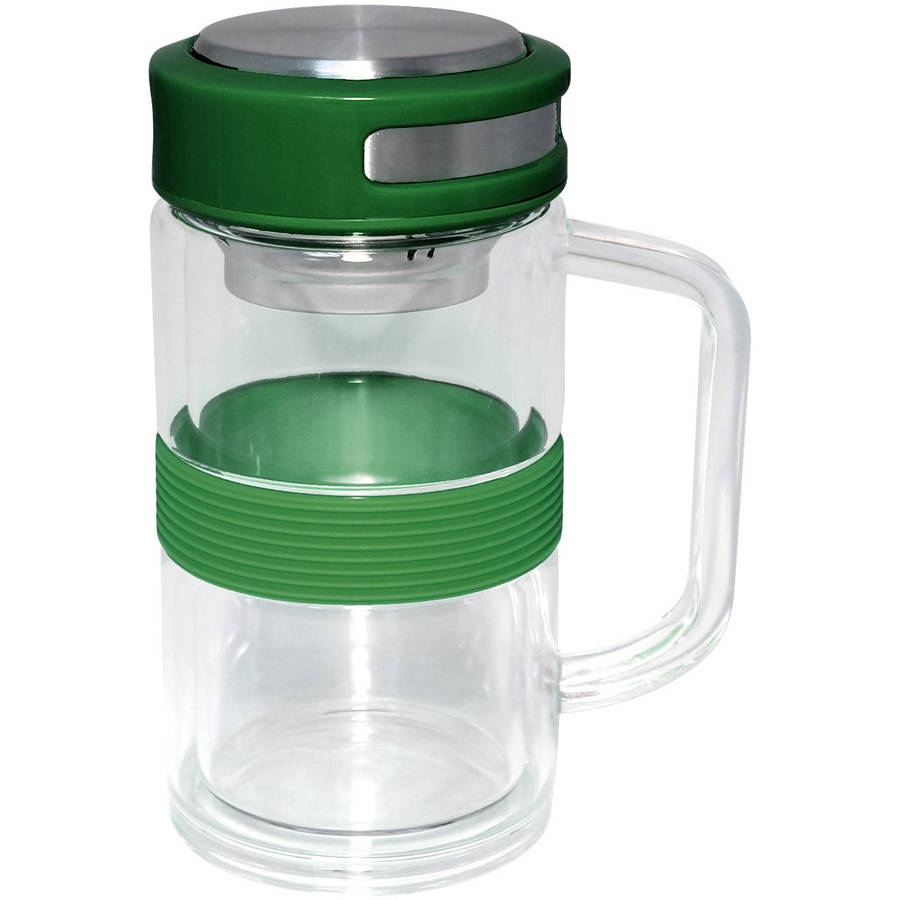 Gourmet Home Products 11 Oz Double Wall Borosilicate Glass Mug with Stainless Steel Strainer and Silicone Band