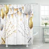 PKNMT Birthday Gold and Silver Balloons Confetti Flag Party Popper Shower Curtain 60x72 inches