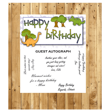 Dinosaur Keepsake (Dinosaur Birthday Guest Autograph Peel and Stick For Keepsake Removable Poster 13 x)