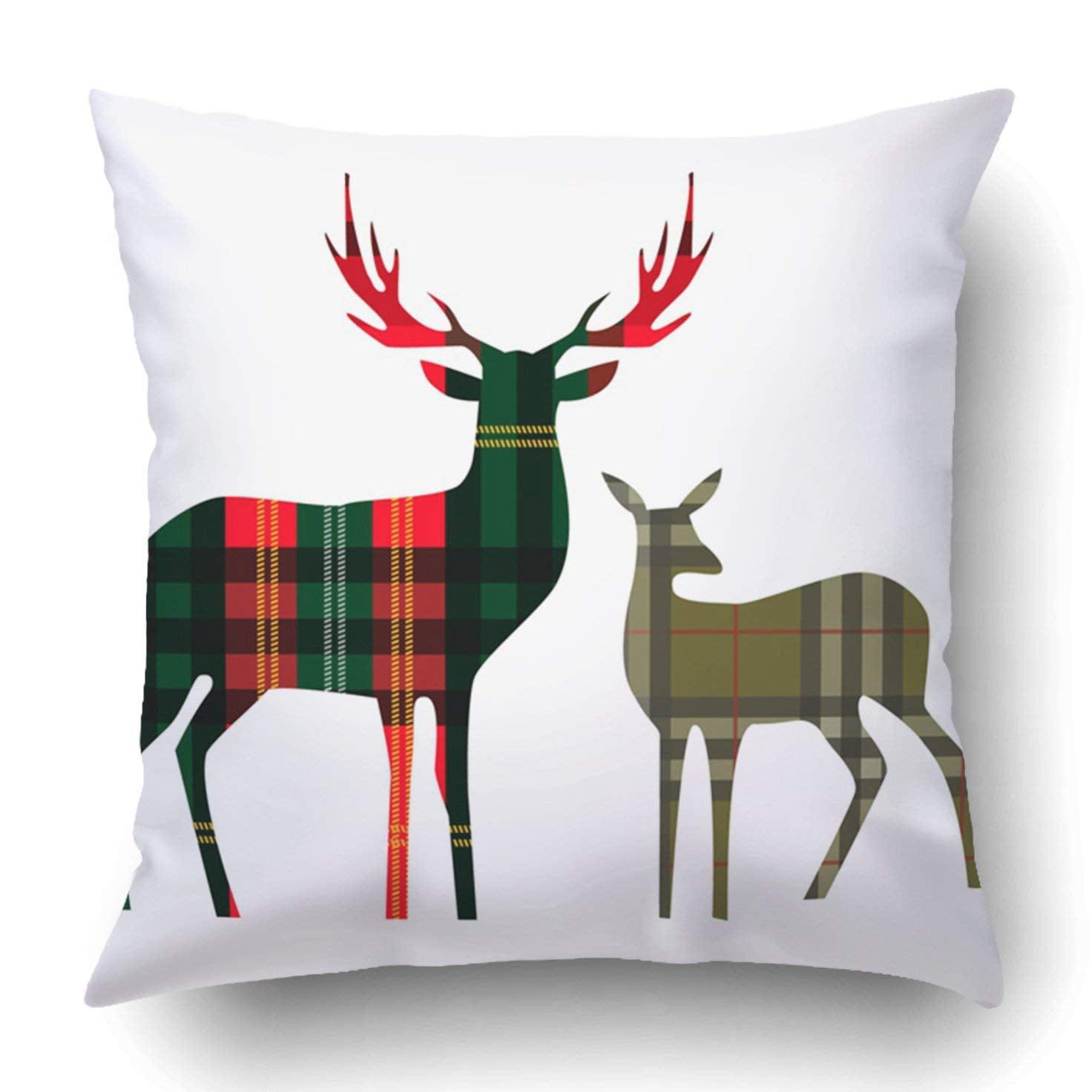 Wopop Green Reindeer Two Deer On Tartan Red Head Abstract Baby Beauty Big Checkered Pillowcase Cover Cushion 18x18 Inch Walmart Com Walmart Com