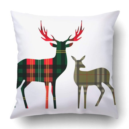 WOPOP Green Reindeer Two Deer On Tartan Red Head Abstract Baby Beauty Big Checkered Pillowcase Cover Cushion 18x18 inch