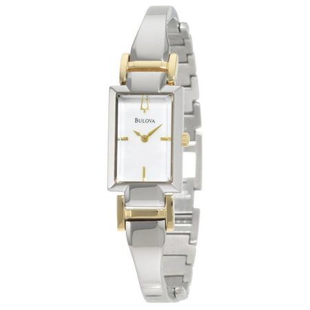 Bulova 98L149 Women's Dress MOP Dial Two Tone Bangle Bracelet Watch
