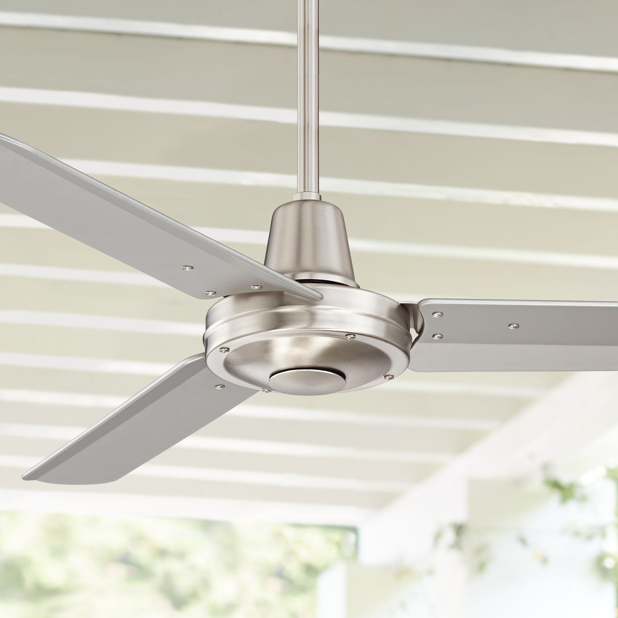 "44"" Casa Vieja Modern Industrial Outdoor Ceiling Fan with Remote Control Brushed Nickel Damp Rated for Patio Porch"