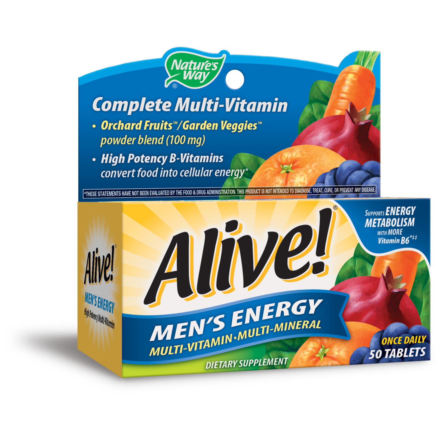 Alive Men S Energy Multivitamin Supplements With Orchard Fruits Garden Veggies Powder Blend 100 Mg 50 Tablets Walmart Com Walmart Com